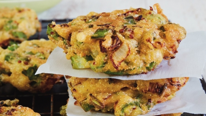 Fried okra cakes