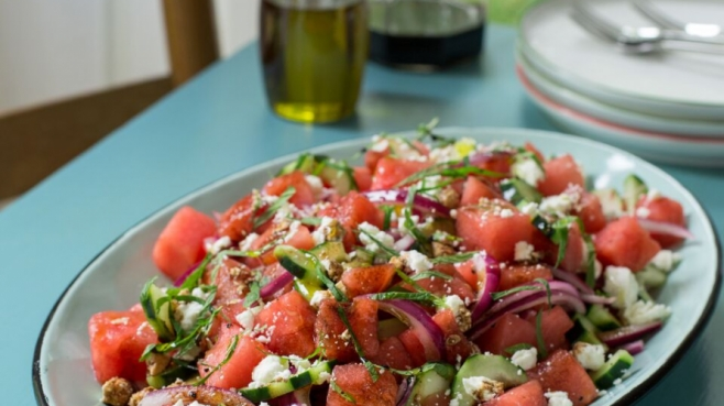 Watermelon and feta salad by Lucy Buffett